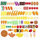 150-piece Play Foodセット – LargeのさまざまなFakeプラスチックFoods for Kids to Play Pretend with – 100 % BPAフリー