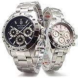 ペアウォッチ Don Clark メンズ腕時計 ブラック ANNE CLARK レディース腕時計 ピンク クロノグラフ 2本セット [並行輸入品]