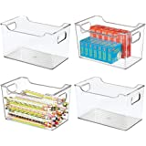 mDesign Large Plastic Home, Office Storage Organization Bin Basket with Handles - for Cabinets, Closets, Drawers, Desks, Tabl