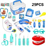 HOWADE 29 Pieces Doctor Kit,Medical Pretend Play Doctor Toy Set in Storage Box- Battery Operated Tools with Lights & Sounds -