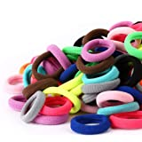 100PCS Baby Hair Ties - Girl Baby's Cotton Hair Band - Tiny Elastic Ponytail Holders for Baby Toddlers Girls Kids, 1 Inch in