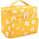 HOYOFO Travel Makeup Bag Portable Toiletry Bags Daisy Print Cosmetic Storage with Handle for Women Big Capacity Make up Pouch