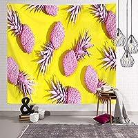 パイナップルタペストリー壁掛け, ベッドルームリビングルーム寮のための創造的なフルーツウォール装飾クロス黄色の背景とピンクのパイナップルの壁カーペット-d 75x95cm(30x37inch)
