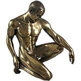 Bronzed Finish Kneeling Nude Male Statue Sculpture