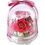 フローリストレマン プリザーブドフラワー バラ ギフト 花 敬老の日 ドーム 割れにくい チャーム(ピンク)