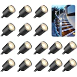 16 Pcs Recessed LED Deck Light with Dimmable Remote Control Kits for Outdoor Railing Stair Step, 12V Low Voltage Waterproof P