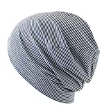 抗がん剤/医療用帽子 オーガニック ガーゼコットンキャップ (L, ネイビーボーダー)