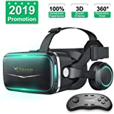 Pansonite Vr Headset with Remote Controller[New Version], 3D Glasses Virtual Reality Headset for VR Games & 3D Movies, Eye Ca