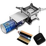 gomaph シングルバーナー ミニスチールピエゾ コンパクトバーナー 防風シート付き 圧電点火 自由に火力調節 登山用 ハードボックス付き 説明書付き CB缶カバー付き