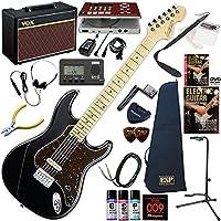 EDWARDS エレキギター 初心者 入門 9mm Parabellum Bullet 滝善充モデル ギターの練習が楽しくなるCDトレーナー(エフェクターも内蔵)と人気のギターアンプVOX Pathfinder10が入った強力21点セット E-SUFFER/BK(メイプル指板)