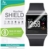 [8-Pack] RinoGear for Fitbit Ionic Screen Protector [Active Protection] Full Coverage Flexible HD Crystal Clear Anti-Bubble F