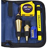 AWF-Pro Plumb Bob Kit, 16 and 8 oz Solid Brass Plumb Bobs, Retractable Line Reel and Case