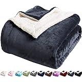 LBRO2M Sherpa Bed Blanket Super Soft Fuzzy Plush Warm Cozy Fluffy Microfiber Couch Throw Velvet Fleece Double Reversible Luxu
