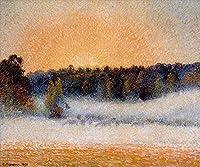 ¥5K-200k 手書き-キャンバスの油絵 - 美術大学の先生直筆 - setting sun and fog eragny 1891 カミーユ・ピサロ 絵画 洋画 複製画 ウォールアートデコレーション -サイズ12