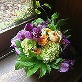 誕生日 プレゼント 父の日 花 母の日 アジサイ 紫陽花 フラワーギフト 生花 あじさいとランのアレンジメント(紫)