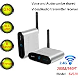 MEASY Wireless AV Sender Transmitter and Receivers Audio Video AV220 2.4GHz up to 200M / 660FT, Plug and Play, Wirelessly Tra