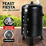 Grillz 3-in-1 Charcoal BBQ Smoker - Black