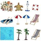 YARNOW 12 Pcs Miniature Fairy Garden Accessories Beach Style Mini Shell Boat Lifebuoy Figurines Ornaments Dollhouse Decoratio