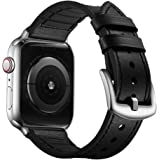 OUHENG Compatible with Apple Watch Band 38mm 40mm, Sweatproof Genuine Leather and Rubber Hybrid Band Strap Compatible with iW