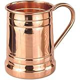 PURE COPPER BEER MUG – Unique Tankard Look - Handmade 100% Pure Copper Beer Stein - Solid Copper,No Lining - Polished Copper