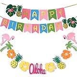 Hawaiian Party Decoration |Luau Party Supplies| Hawaiian Tropical Banner, Flamingo Garland for Pool Party Supplies,Tropical P