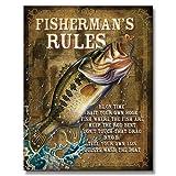 ブラックバス★FISHERMAN'S RULES・釣り系★アメリカンブリキ看板
