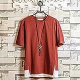 Hisitosa Tシャツ 半袖 メンズ カットソー 無地 ネックレス付き 薄手 涼しいゆったり かっこいい カジュアル ファション (レッド, L)