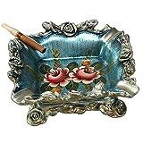 【Woliwowa】 灰皿 ヨーロピアン アンティーク風 神秘的な ブルー フラワー モチーフ おしゃれな 小物入れ オブジェ [並行輸入品]