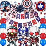 スーパーマンキャプテン 誕生日飾り付け キャプテンアメリカ  ペーパーファン 米国国旗 赤いブルーホワイト シールドスターアルミバルーン 子供ベビーシャワー100日半歳1歳 大人 部屋装飾