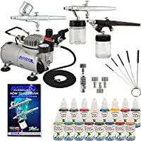Master Airbrush ABD KIT-WBFP-16-20 Art Professional Airbrush Face and Body Art Paint Airbrushing System Kit with Standard Compressor (09 Items) by Master Airbrush