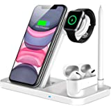 Wireless Charger, QI-EU 4 in 1 Qi-Certified 10W Fast Charging Station Compatible Apple Watch Airpods iPhone 11/11pro/X/XS/XR/