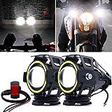【4モード切替】X-STYLE U7 バイク用 LED フォグランプ イカリング/Hi/Lo/ストロボ プロジェクター 12V~80V 汎用 IP67防水 ホワイト スイッチ付け 2個セット