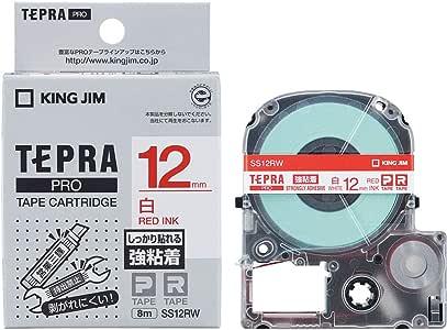 キングジム テープカートリッジ テプラPRO 強粘着 12mm 白 SS12RW