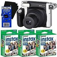 HeroFiber Fujifilm INSTAX 300 Wide-Format Instant Photo Film Camera (Black/Silver) + Fujifilm instax Wide Instant Film (60 sheets) Ultra Gentle Cleaning Cloth