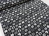 福福にゃんこ ブラック黒 ドビー生地   |綿|コットン|キヤット|ねこ|猫|アニマル|動物|かわいい|布|