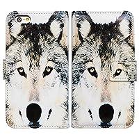 iPhone 6S ケース,iPhone 6 ケース,アイフォン 6 6S ケース,Bcov 良質PUレザーケース 横開き 手帳型 二つ折り カード収納ポケット スタンド機能 保護カバー 狼の顔