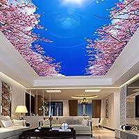 Mbwlkj 3Dの写真の壁紙にモダンなベッドルームのリビングルームの天井の壁画の壁紙は青と白の桜の壁紙-200Cmx140Cm