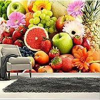Lcymt カスタム3D壁画、カラフルな新鮮な果物や花、カフェウォールレストランキッチンダイニングルームの壁の壁紙-250X175Cm