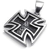 Jonline24h Stainless Steel Templar Knight Cross Pendant Biker Mens Necklace, 18-26 Inch Chain Gift