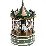 ヴィンテージオルゴールメリーゴーランド、グリーン木製メリーゴーランドの馬クリスマス誕生日ギフト、時計仕掛けのメカニズムのおもちゃ カルーセルオルゴール XINRUIBO