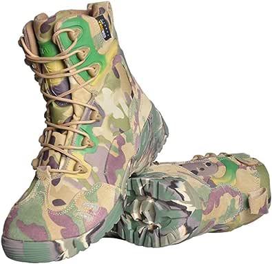 [リンゼ] 迷彩 安全靴 作業靴 メンズ レディース ハイカット ブーツ ミッドソール 軽量 通気性 防滑 耐摩耗 クッション性 おしゃれ 男女兼用 大きいサイズ アウトドア トレーニングシューズ 学生 通学 コンバットブーツ