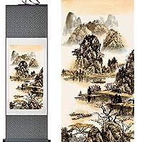 山と川の絵画中国のスクロール絵画風景アート絵画,Greenpackage,140cmx45cm