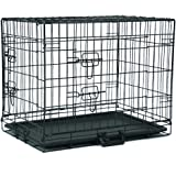 Homes for Pets Dog Crate, Indoor & Outdoor Dog Cages, Single Door Folding Metal Dog Cage or Pet Kennel with TrayPet/Fully Equ