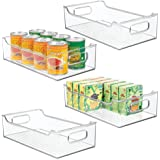 mDesign Wide Stackable Plastic Kitchen Pantry Cabinet, Refrigerator or Freezer Food Storage Bin with Handles - Organizer for