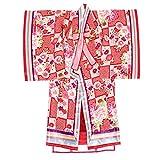 ベビー着物セット JAPAN STYLE ジャパンスタイル 赤系 レッド ピンク 牡丹 菊 桜 梅 花 鹿の子 市松 十二単 女児 1歳 一才 女の子 マジックベルト 子供着物 お正月 ひな祭り 祝着 仕立て上がり