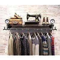 浮遊式棚 レトロ鉄の鉄パイププレート衣類ラック吊り服店ラック吊りハンガー壁掛けディスプレイスタンド(サイズ:124 * 30cm) 工業用壁フレーム