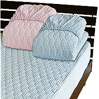 メーカー直販 先染め綿サッカー一体型ボックスシーツ ダブル 140×200×30cm 表面の凸凹が肌に爽やか涼感感触 ブルー