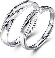 JUDYの秘密<愛の言葉>ペアリング メンズレディースリング キラキラ 結婚 婚約指輪 純銀制 キュービックジルコニア フリーサイズ