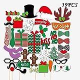 DUTISON 39ピース Reunion Party Decorations Supplies 木製のスティックと鼻の看板 屋外のブースのクリスマスパーティー 写真ブース小道具 クリエイティブでハッピーなクリスマスポーズサインキット パーティーデコレーション用