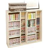 アイリスオーヤマ 本棚 コミック ラック 大容量 スライド棚 ホワイト シングル 幅約90×奥行約29.2×高さ約92.2cm CSS-9090